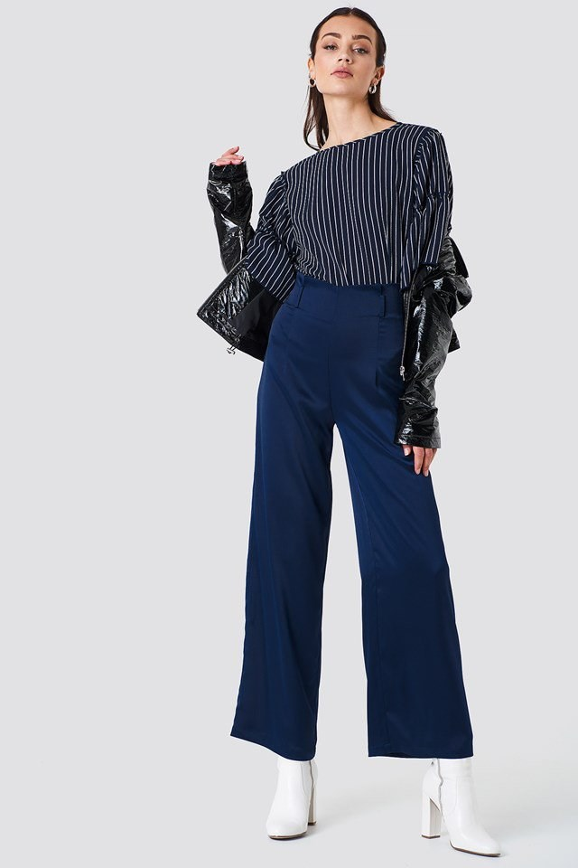 Flared Sleeve Blouse with Wide Leg Trousers