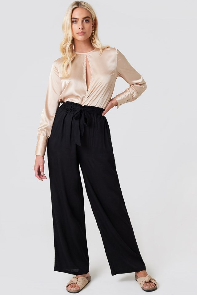 Front Slit Satin Top with Tie Waist Trousers