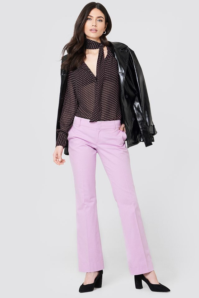 Sheer V-Neck Shirt with Trousers