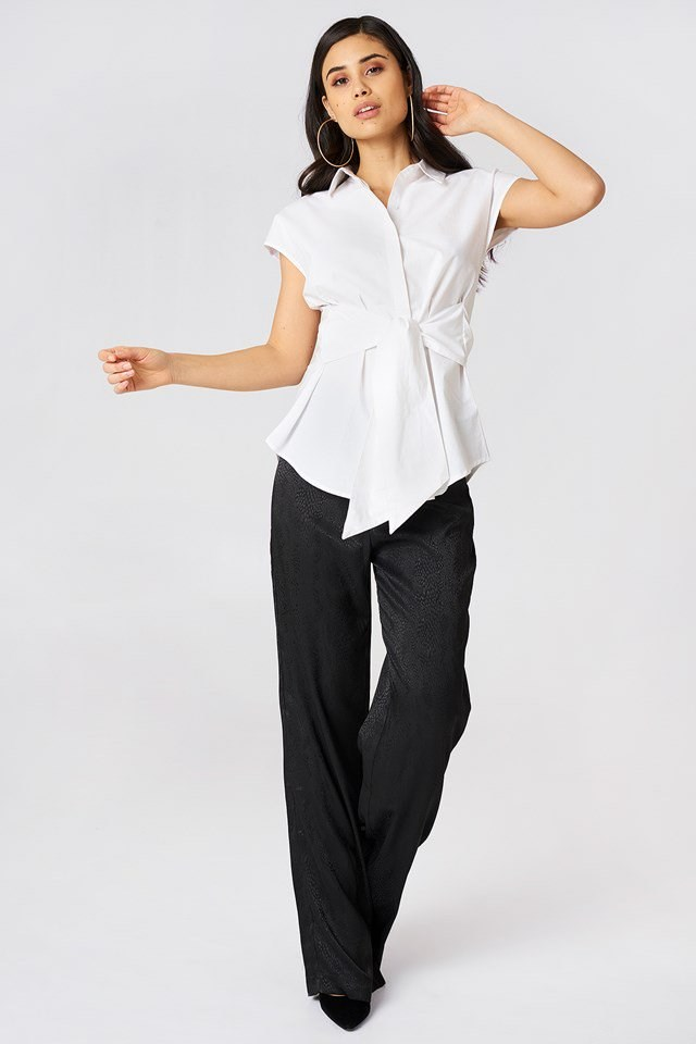 Tie Waist Blouse with Loose Fit Trousers