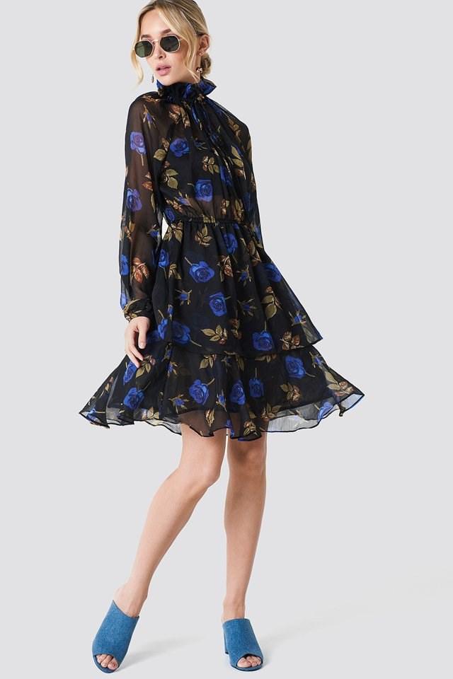 High Neck Floral Midi Dress