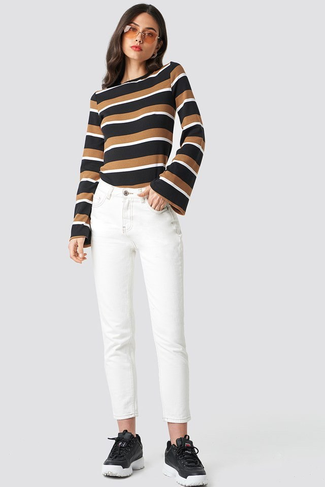 Wide Sleeve Striped Top