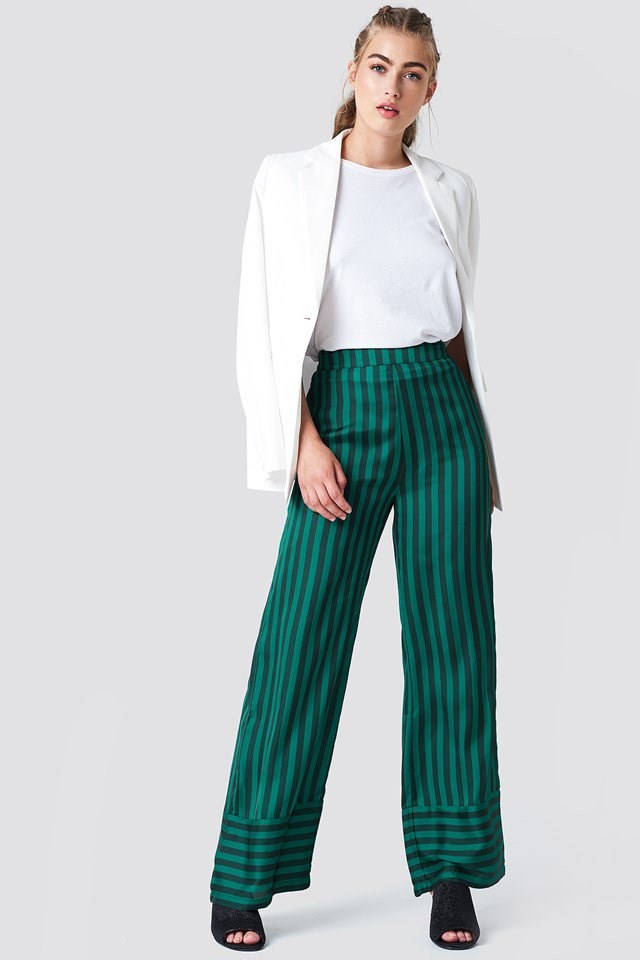 Striped Pants with Tailored Blazer
