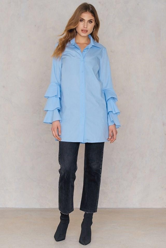 Ruffle Shirt Dress Outfit