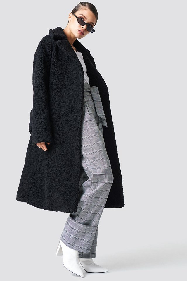 Teddy Coat & Checkered Trousers Outfit