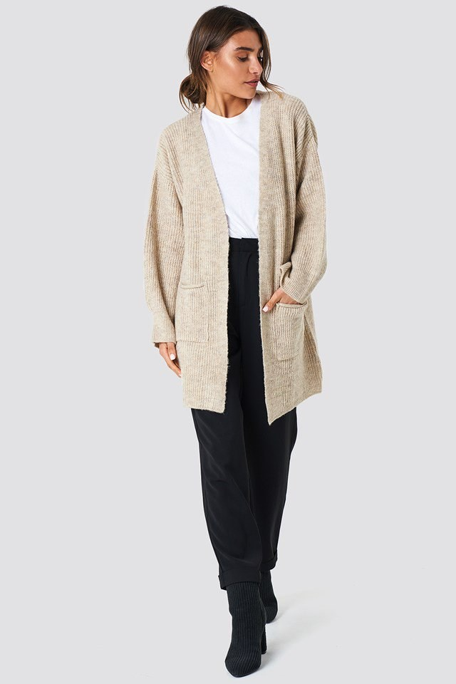 Front Pocket Knitted Cardigan