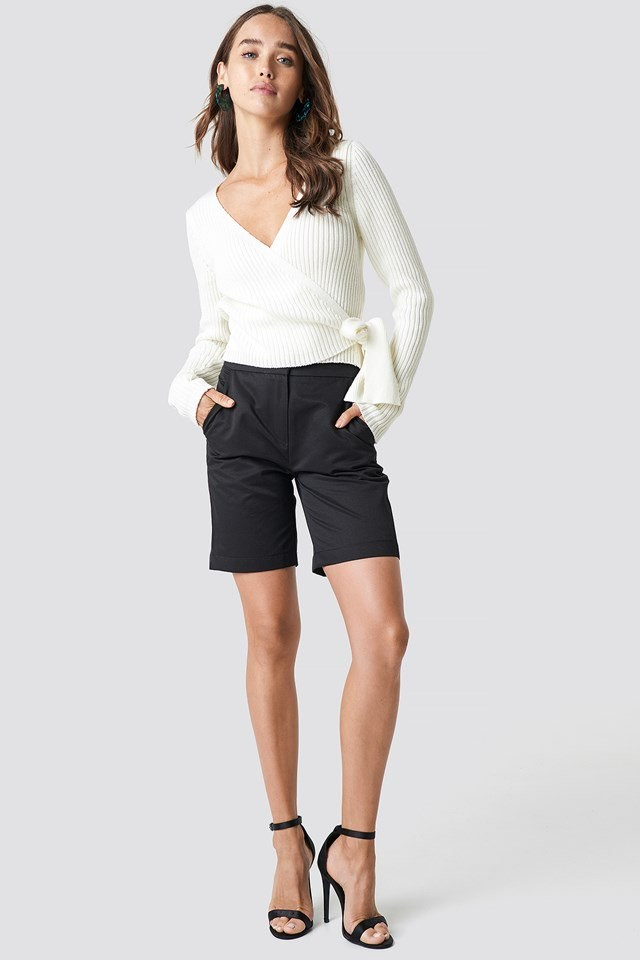 Overlap Ribbed Knitted Sweater