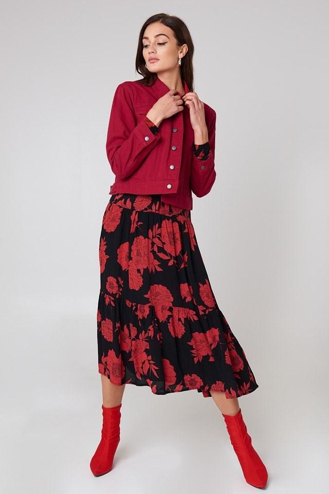 Denim Jacket with Feminine Skirt