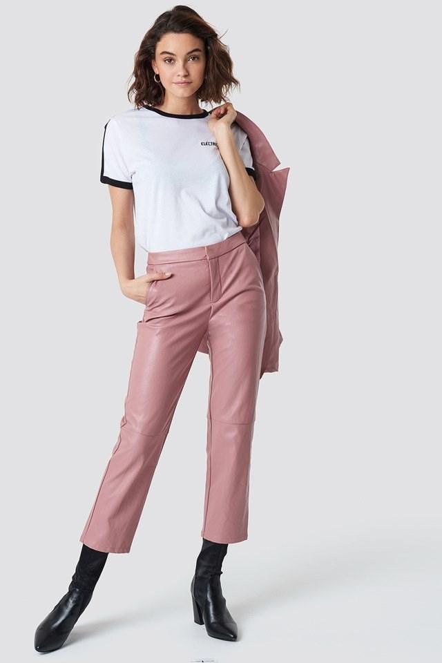 PU Pants with Blazer and Basic Tee