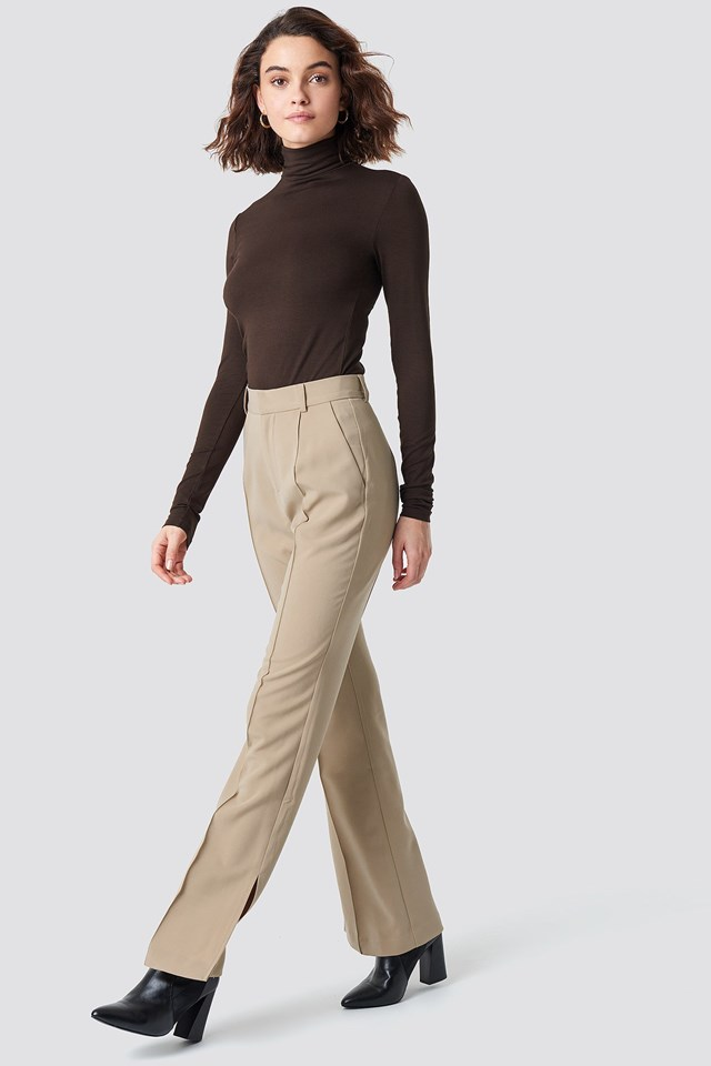 Seamline Suit Pants with Long Sleeve Polo Top