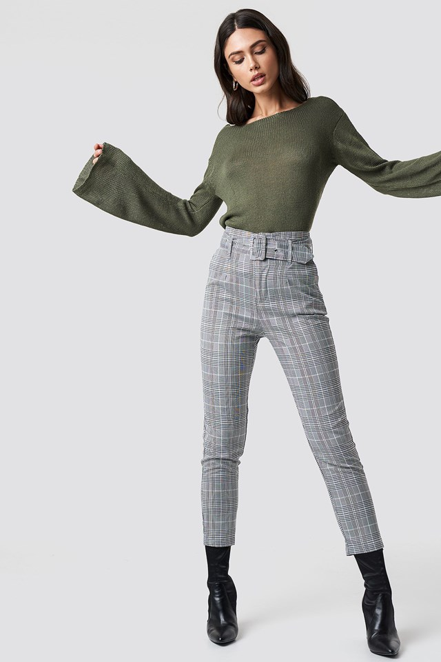 Open Back Knit and Belted Pants Outfit.