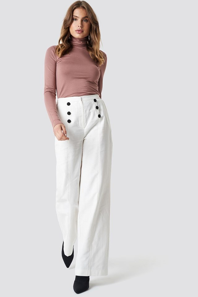 Front Button Detailed Trousers with Long Sleeve Polo Top