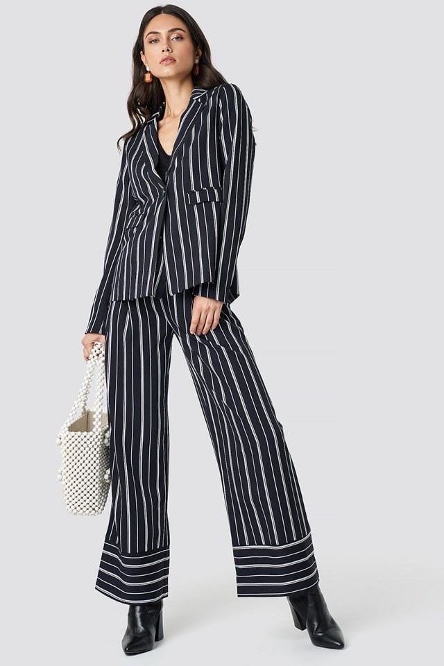 Tie Waist Striped Wide Pants and Blazer