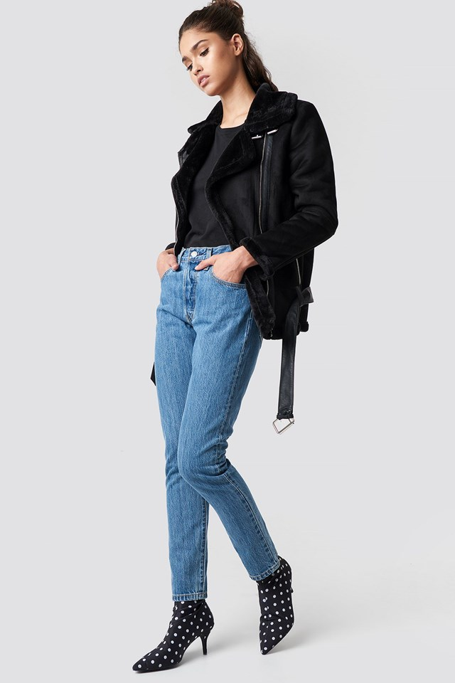 Warm Biker Jacket and Denim Outfit