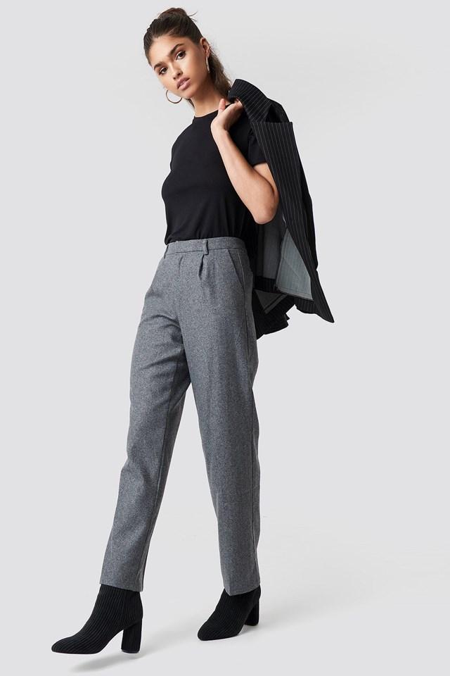 Creased Wide Leg Pants and Blazer