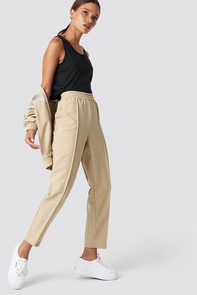 Elastic Waist Seamline Pants and V-Stripe Tracksuit Jacket
