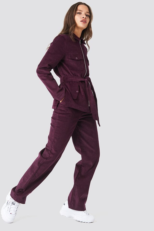Cropped Patent Pants and Tie Waist Corduroy Blazer