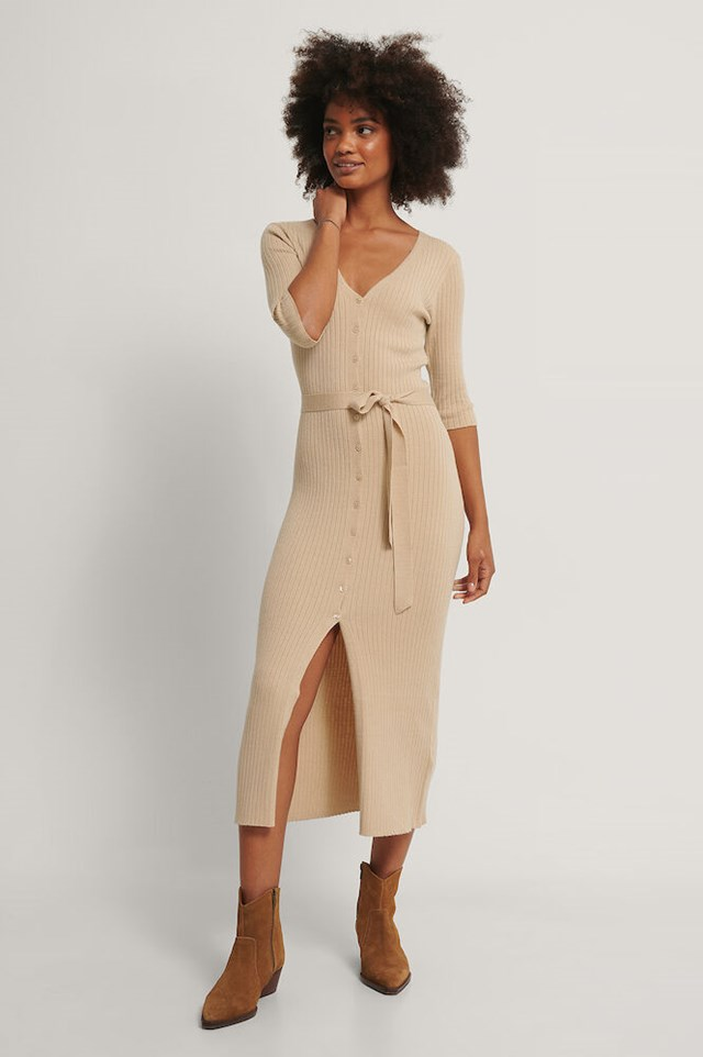 Belted Ribbed Knitted Midi Dress Outfit.