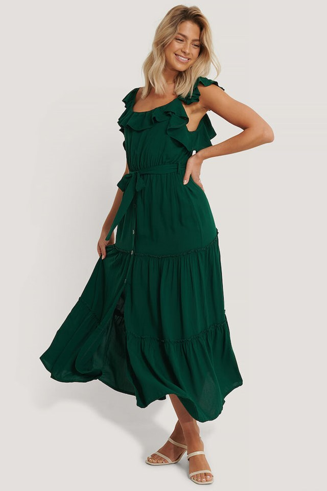 Belted Ruffle Long Dress Outfit.