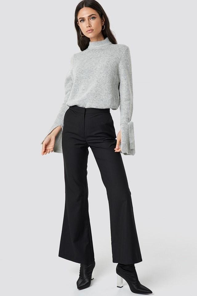 Grey Knit Pant Suit Outfit