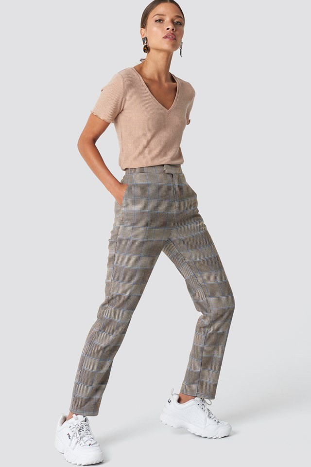 Neutral Checkered Trouser Outfit