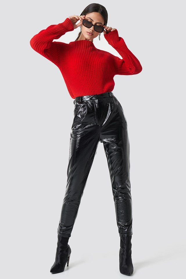 Red Knit X Leather Outfit
