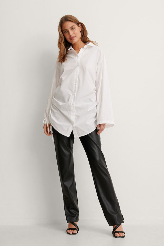 Oversized Drawstring Shirt Outfit!