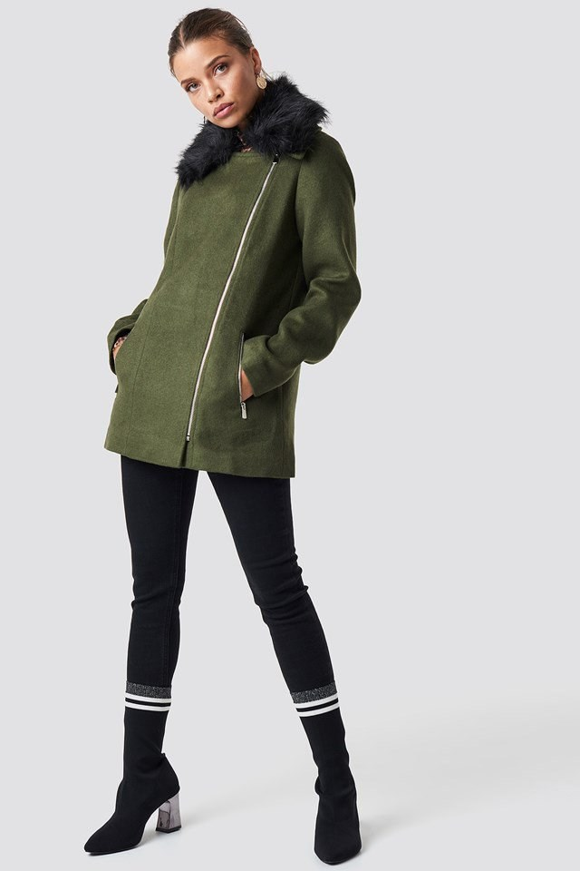 Short Coat and Sporty Ankle Boots Outfit.