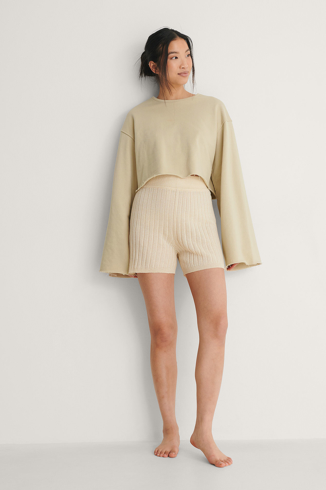 Light Beige Light Knitted Ribbed Shorts