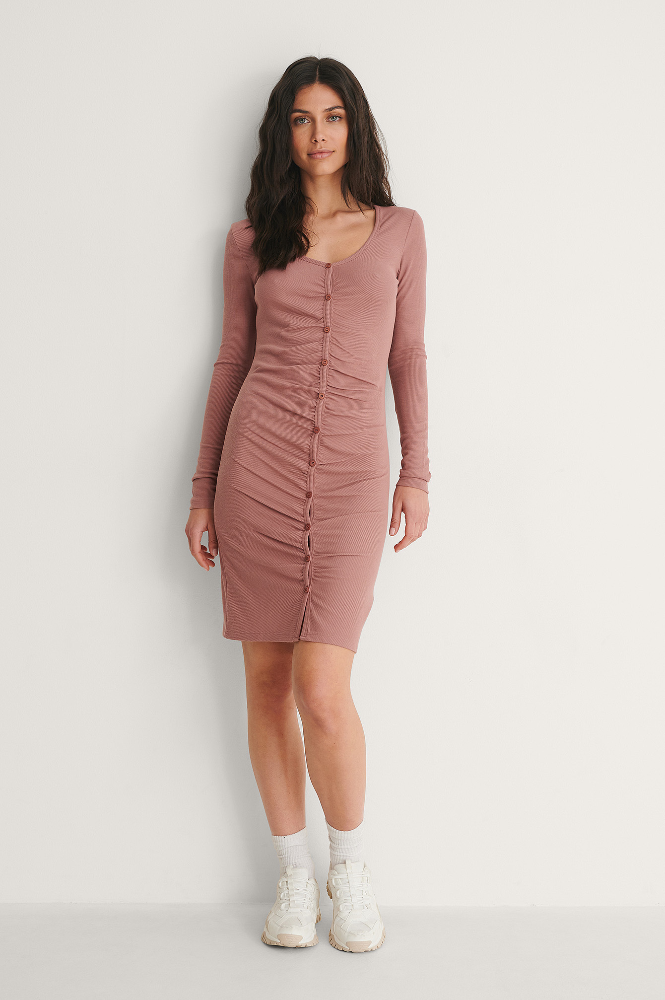 Dusty Dark Pink Rouched Ribbed Button Dress