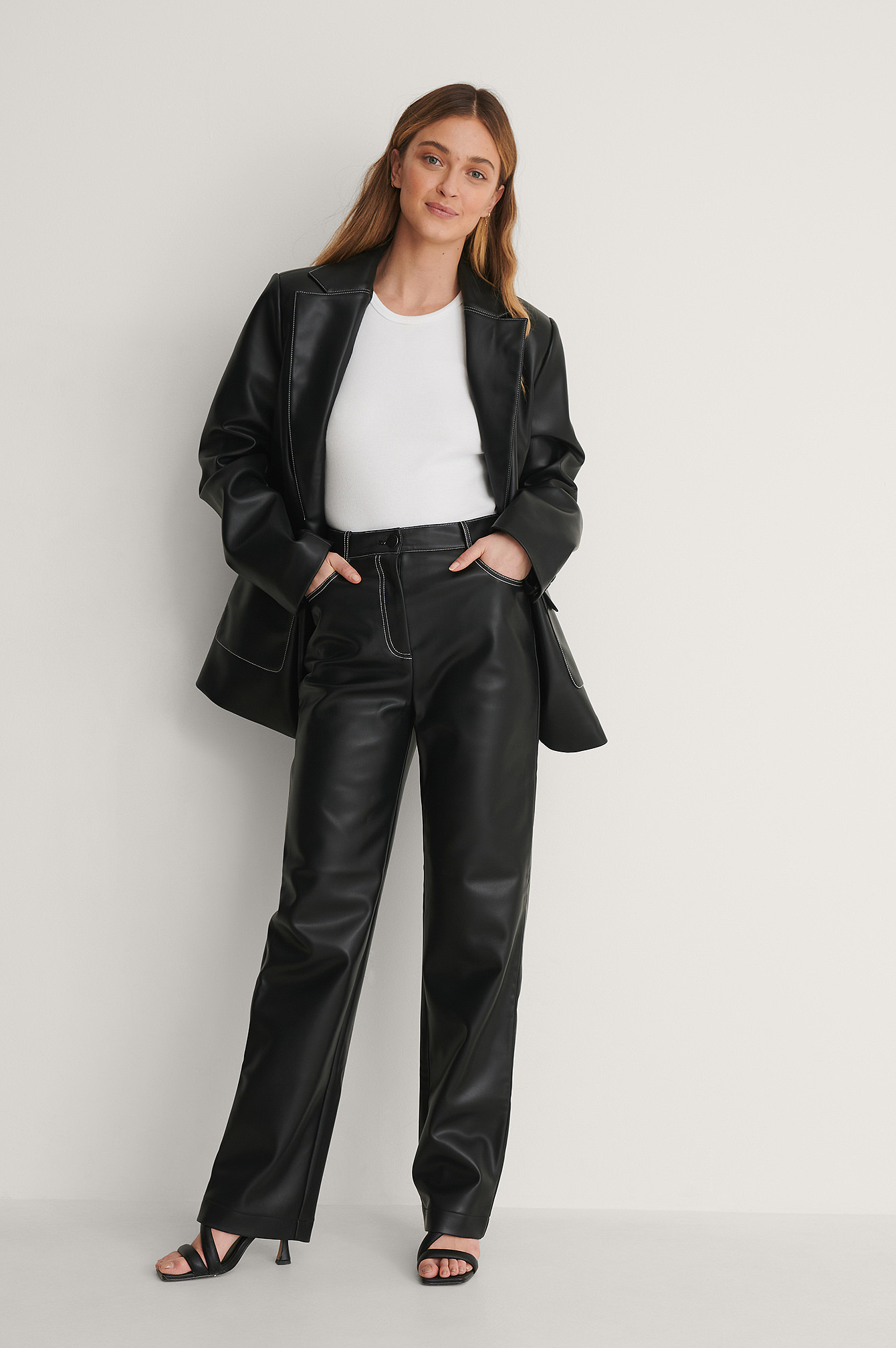 Oversized Contrast Pu Blazer Outfit.
