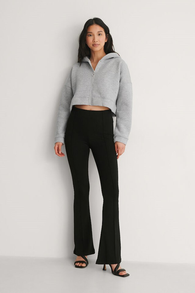 Grey Hooded Crop Sweater