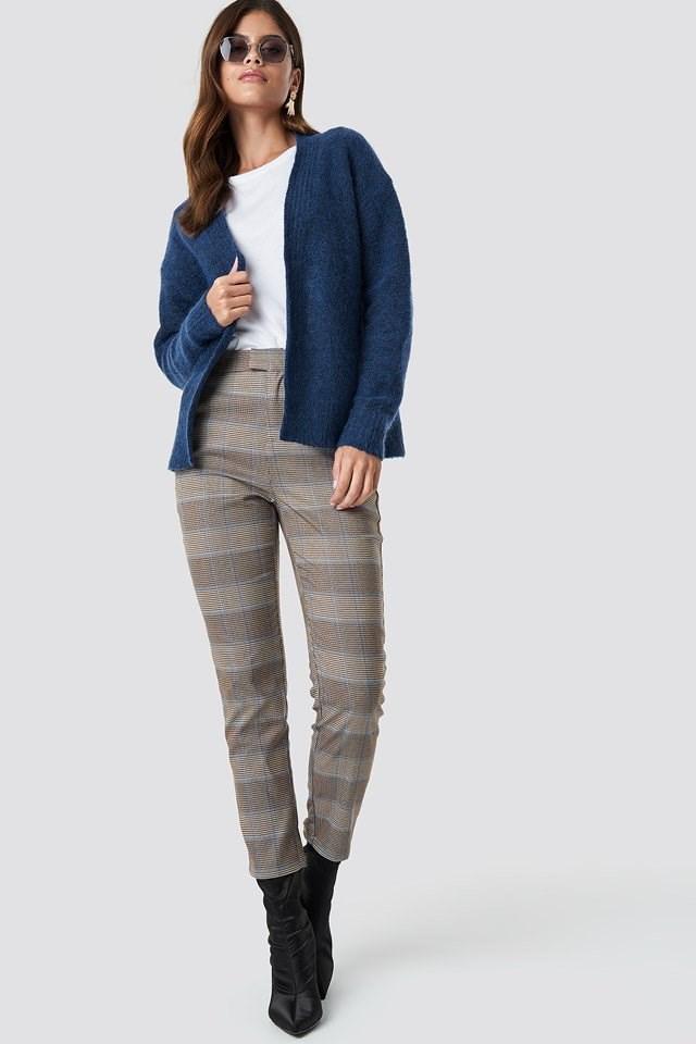 Blue Cardigan Pant Suit Outfit