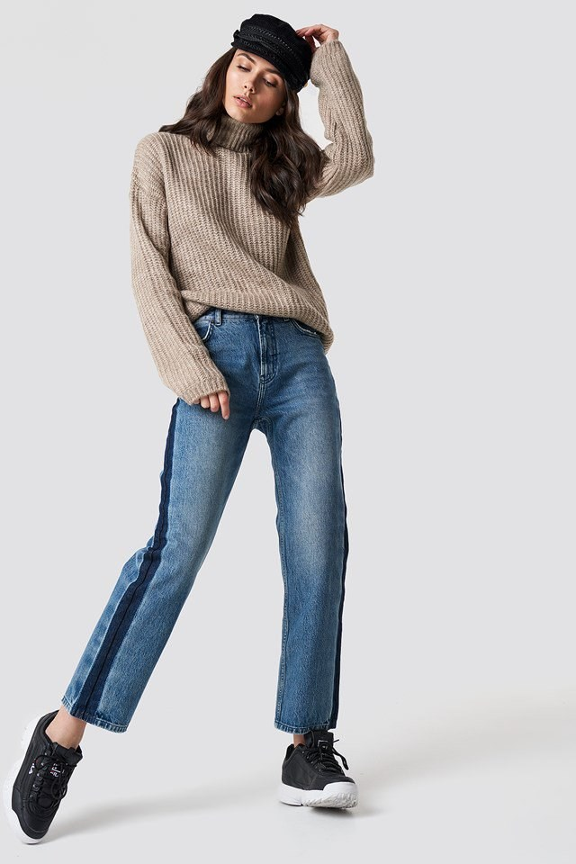 Hatted Denim and Knit Outfit