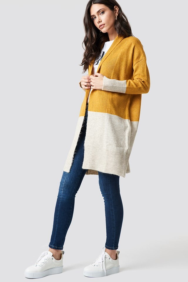 Yellow Blocked Cardigan Outfit