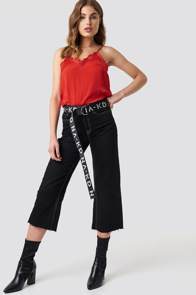 Red Singlet Belted Pant Outfit