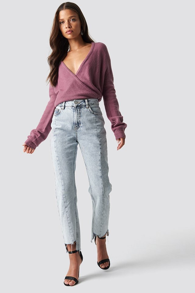 Overlap Knit and Acid Jeans Outfit