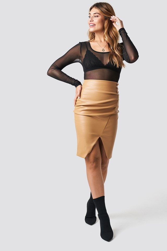 Round Neck Mesh Top X Skirt Outfit