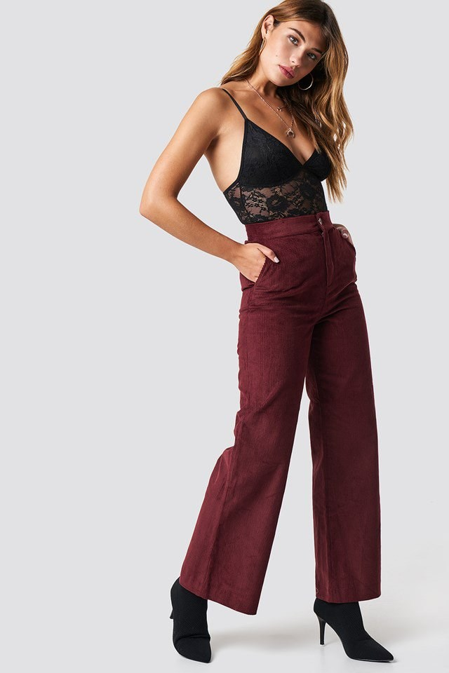 Full Lace Bodysuit X Red Pant Outfit