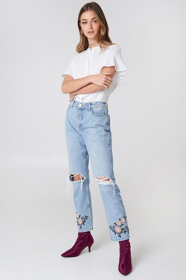 High Waist Embroidered Ankle Jeans