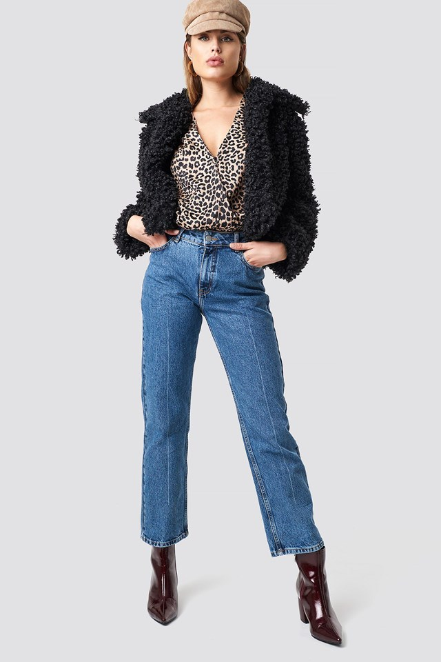 Curly Faux Fur Jacket Outfit
