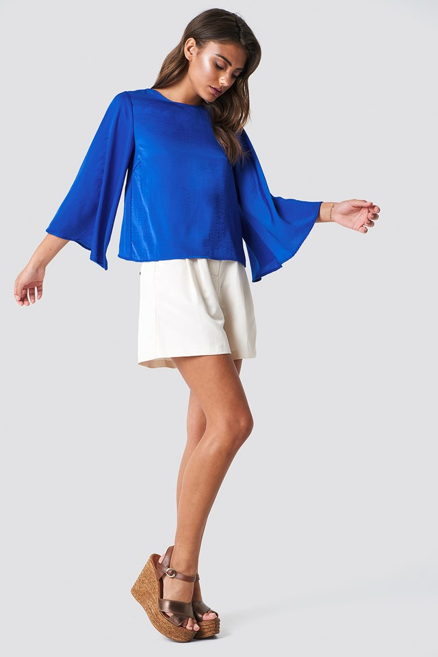Bell Sleeve Blouse on Shorts