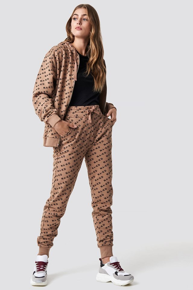 Beige Branded Sweatpants Outfit