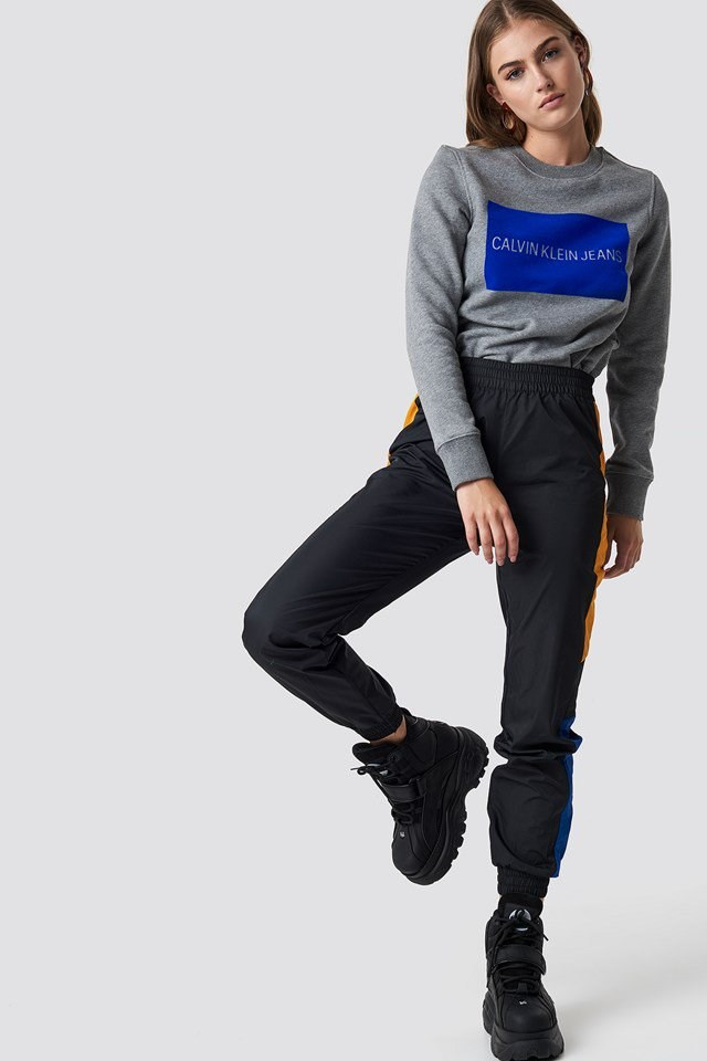 Grey Crewneck X Side Panel Track Pant Outfit