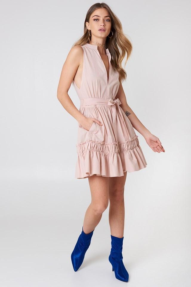 Sleeveless Front Tie Dress