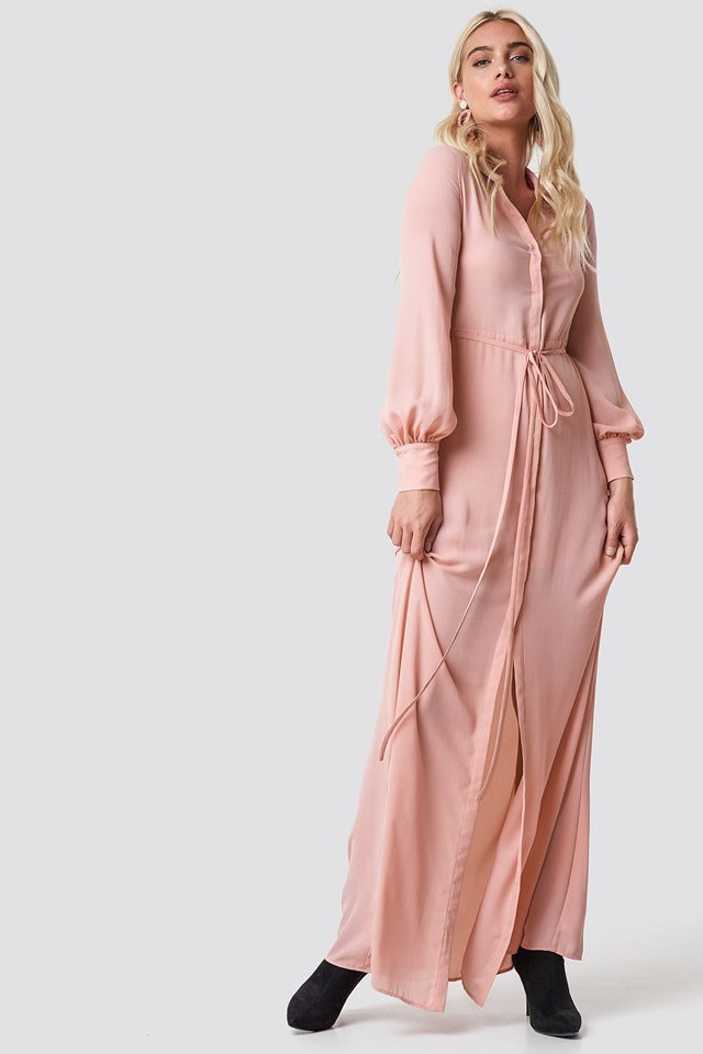 Pink Maxi Dress X Earring Outfit