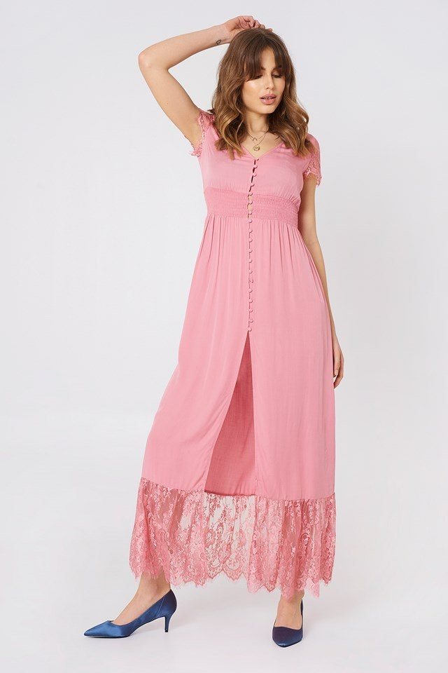 Buttoned Maxi Lace Dress