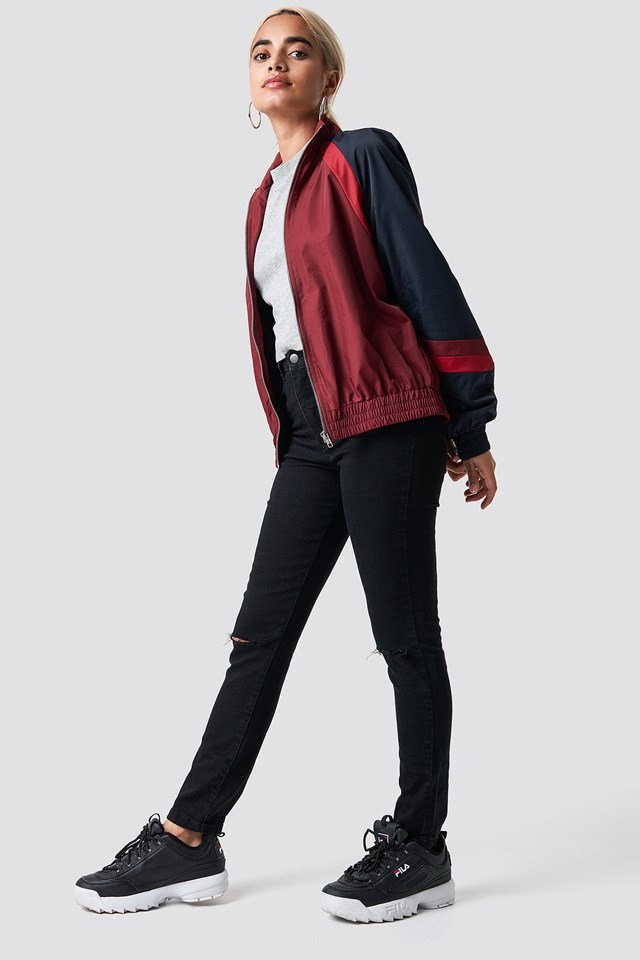 Red Tracksuit Jacket X Hoop Earring Outfit