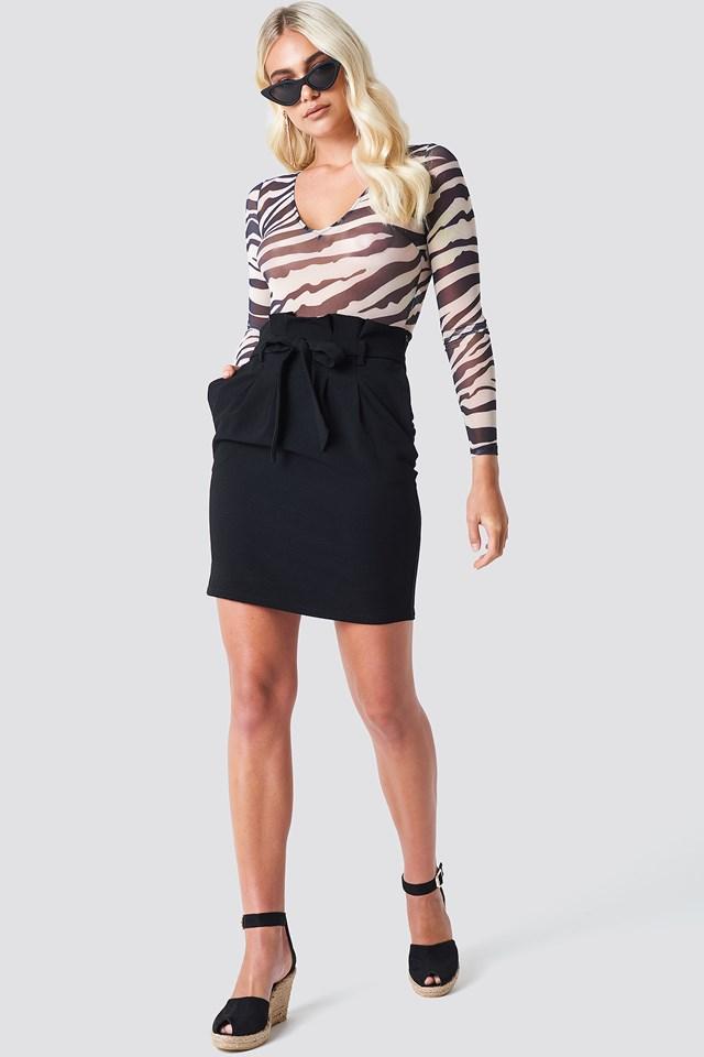 Patterned Long Sleeve Body on Skirt