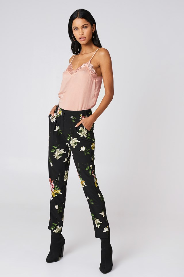 Flower Printed Pants with a Solid Singlet